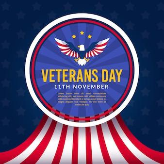 Diseño plano de veteranos con bandera americana