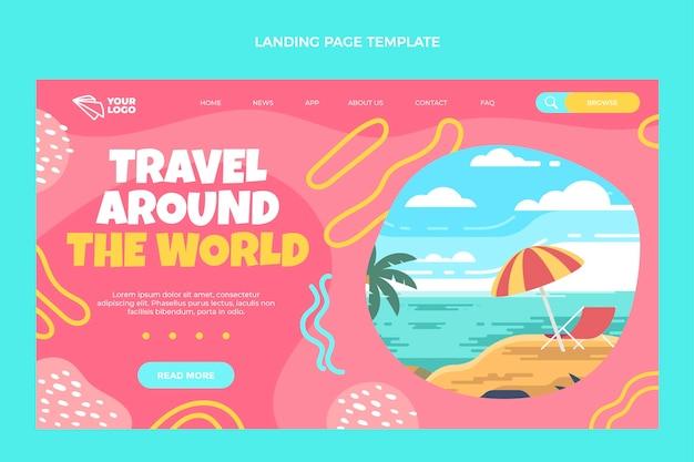 Diseño plano viaja por la página de destino del mundo.