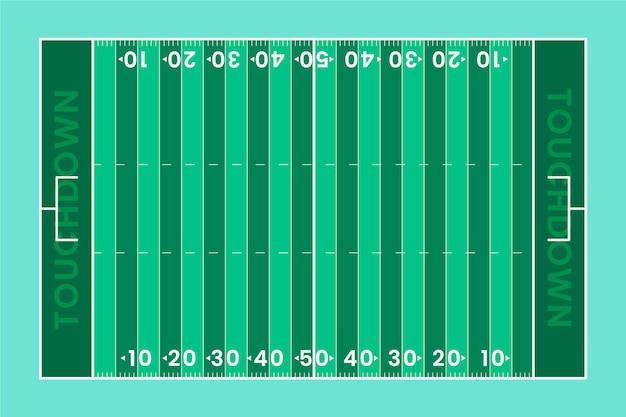 Diseño plano de la vista superior del campo de fútbol americano