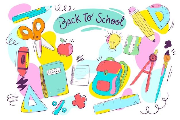 Diseño plano de vuelta al fondo de la escuela