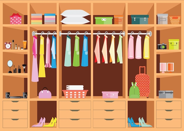 Diseño plano walk in closet with shelves.