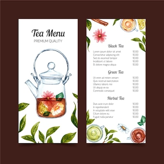 Diseño de plantilla de acuarela de menú de té