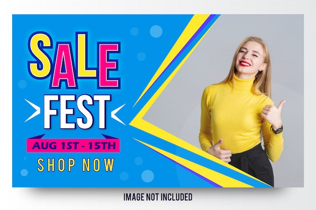 Diseño de la plantilla de la bandera de la venta de la moda del festival de la venta