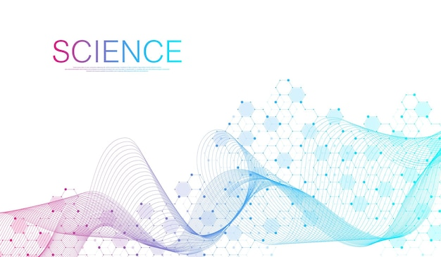 Diseño de plantilla de banner de atención médica médica. estructuras moleculares, ilustración vectorial de innovación