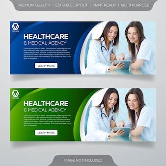 Diseño de plantilla de banner de consultoría sanitaria