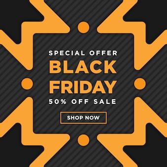 Diseño de plantilla de banner cuadrado negro super venta de viernes