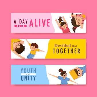 Diseño de plantilla de banner del día de la juventud para el día internacional de la juventud, plantilla, publicidad de acuarela
