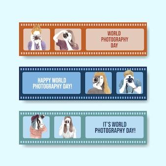 Diseño de plantilla de banner con el día mundial de la fotografía para publicidad y folleto