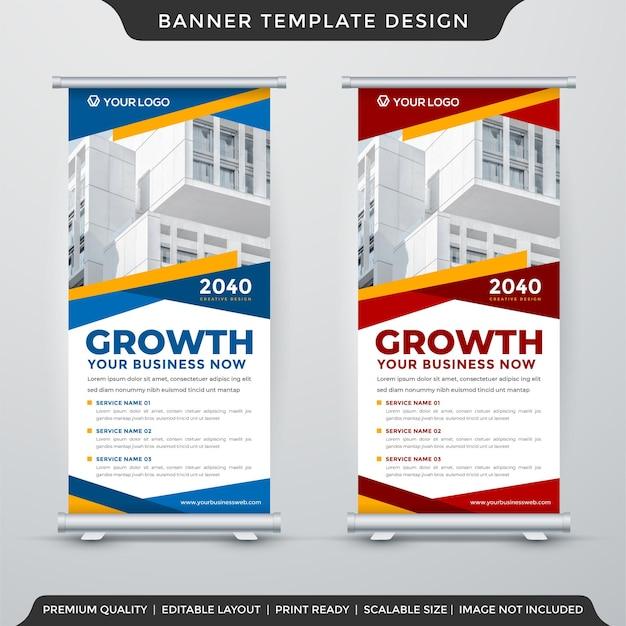 Diseño de plantilla de banner enrollable de negocios con uso de diseño moderno para presentación de productos comerciales