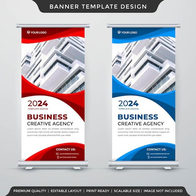 Diseño de plantilla de banner enrollable de negocios con uso de estilo abstracto para tablero comercial