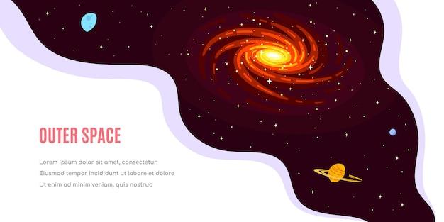 Diseño de plantilla de banner de espacio exterior, ciencia, astronomía y astrofísica