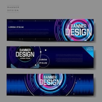 Diseño de plantilla de banner futurista en estilo digital