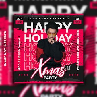 Diseño de plantilla de banner de instagram de publicación de redes sociales de feliz fiesta navideña