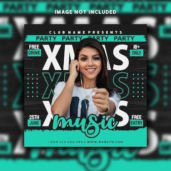 Diseño de plantilla de banner de instagram de publicación de redes sociales de música navideña