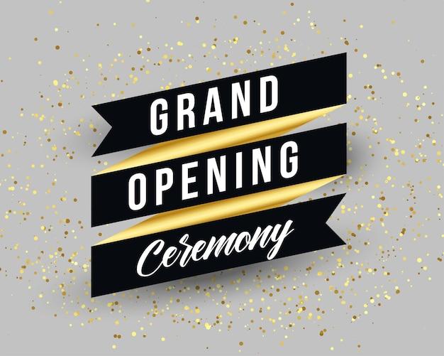 Diseño de plantilla de banner de invitación de gran ceremonia de inauguración