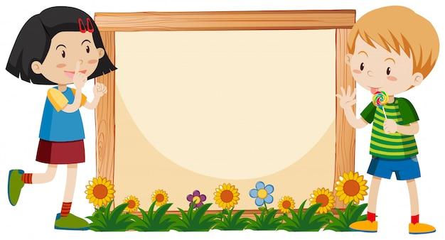 Diseño de plantilla de banner con niño y niña en el jardín