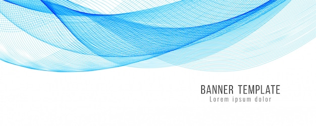 Diseño de plantilla de banner ondulado azul abstracto
