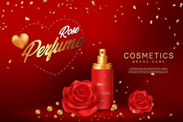 Diseño de plantilla de banner de publicidad cosmética de perfume de rosa