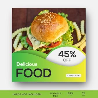 Diseño de plantilla de banner de redes sociales de alimentos