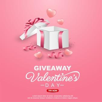 Diseño de plantilla de banner de regalo de san valentín con caja de regalo realista
