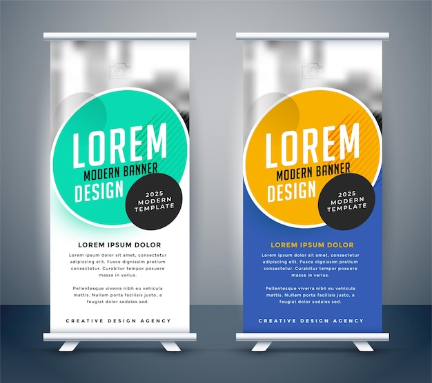 Diseño de plantilla de banner de standee enrollable moderno