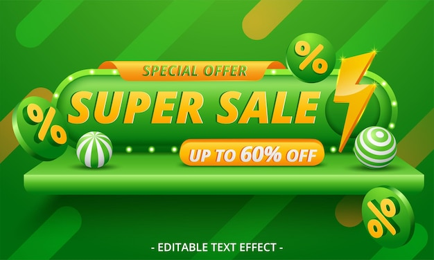 Diseño de plantilla de banner de super venta de ilustración vectorial