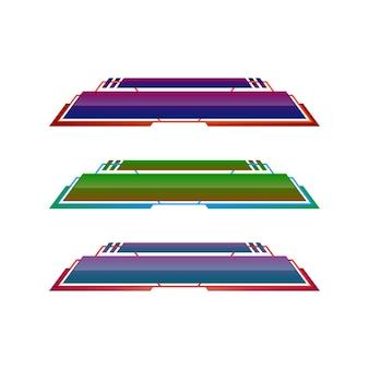 Diseño de plantilla de banner de tercio inferior geométrico moderno vector de plantilla de conjunto de tercios inferiores coloridos