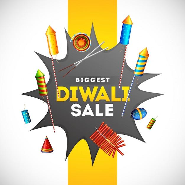 Diseño de plantilla de banner de venta de diwali con ilustración de diferentes petardos en explosión de explosión cómica por concepto de publicidad.