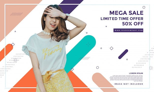 Diseño de plantilla de banner de venta de moda