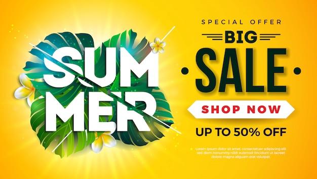 Diseño de plantilla de banner de venta de verano con hojas de palmera exóticas