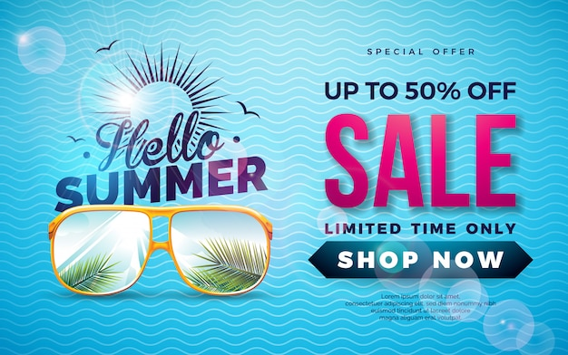 Diseño de plantilla de banner de venta de verano con hojas de palmeras exóticas en gafas de sol
