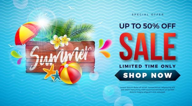 Diseño de plantilla de banner de venta de verano con hojas de palmeras exóticas y pelota de playa