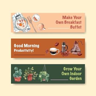 Diseño de plantilla de banner de la vida diaria con ilustración acuarela