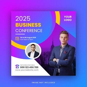 Diseño de plantilla de banner web de publicación de redes sociales de conferencia de negocios