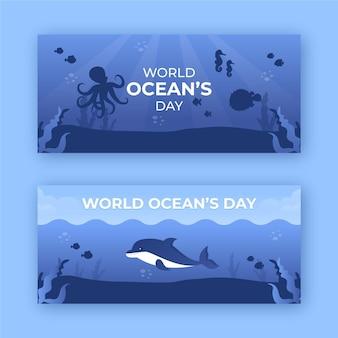 Diseño de plantilla de banners del día mundial de los océanos