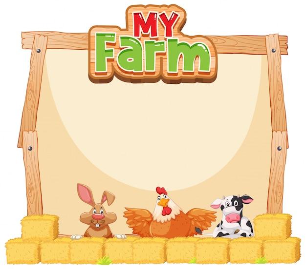 Diseño de plantilla de borde con animales de granja