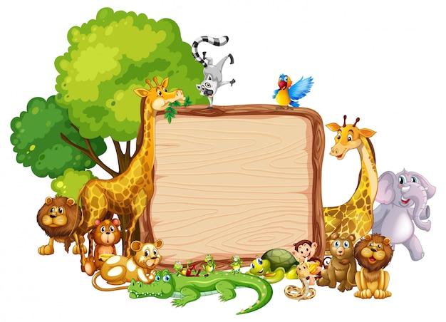Diseño de plantilla de borde con animales lindos