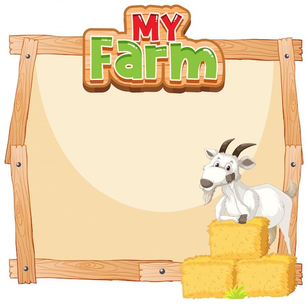 Diseño de plantilla de borde con cabra y heno