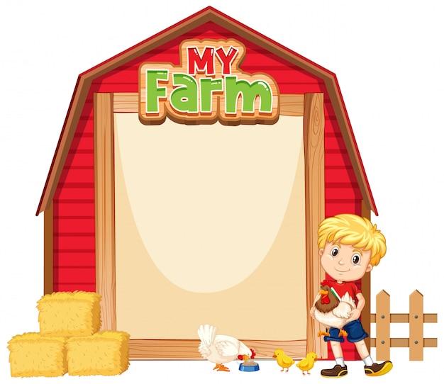 Diseño de plantilla de borde con chico lindo y pollos