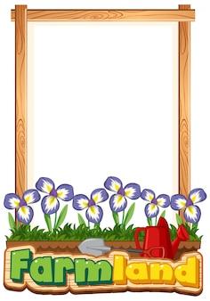 Diseño de plantilla de borde con flores de iris