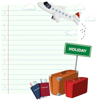 Diseño de plantilla de borde con fondo de tema de viaje
