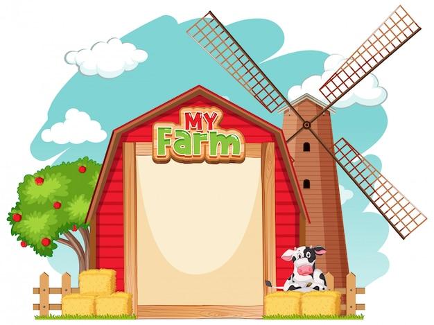 Diseño de plantilla de borde con granero rojo y vaca