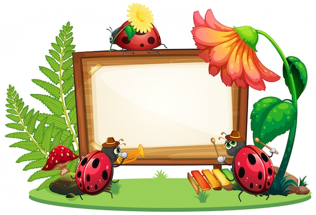 Diseño de plantilla de borde con insectos en el fondo del jardín