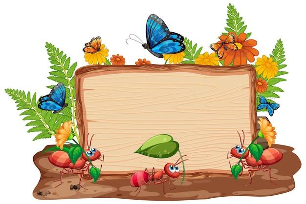Diseño de plantilla de borde con insectos en el fondo del jardín.