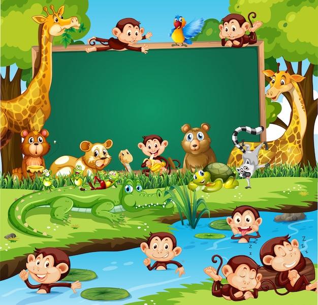 Diseño de plantilla de borde con lindos animales en el bosque