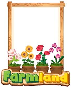 Diseño de plantilla de borde con muchas flores en el jardín