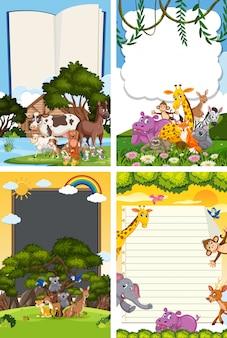Diseño de plantilla de borde con muchos animales salvajes