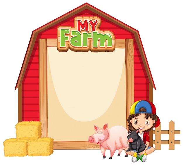 Diseño de plantilla de borde con niña y animales de granja