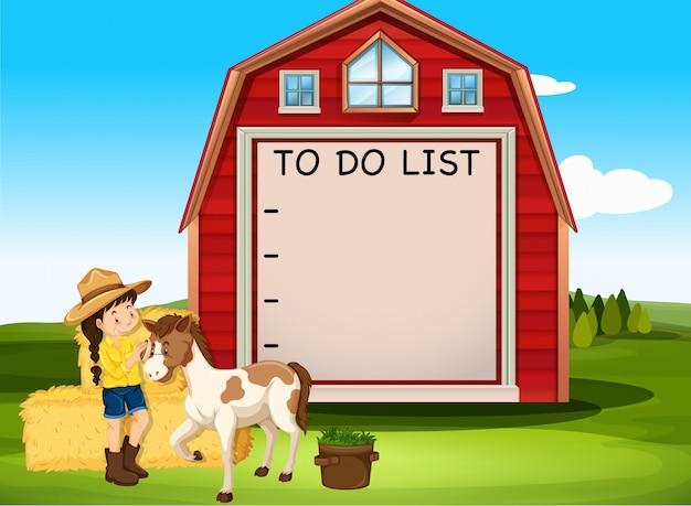 Diseño de plantilla de borde con niña y caballo en la granja