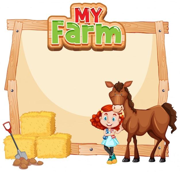 Diseño de plantilla de borde con niña y caballo marrón
